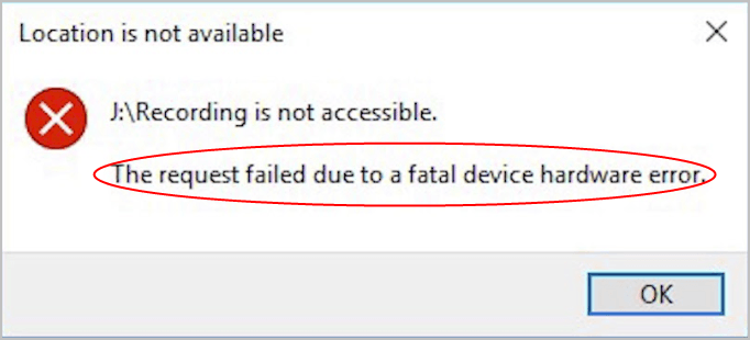 How to Fix The request failed due to a fatal device hardware error