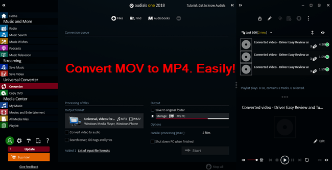 easy way to convert mov to mp4