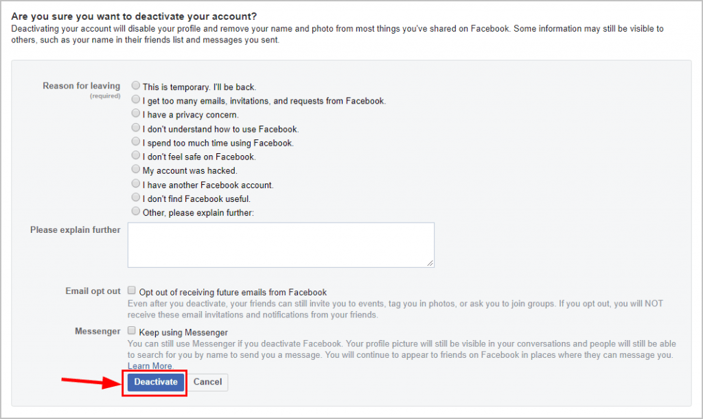 How To Deactivate Facebook [Easy Steps With Pictures