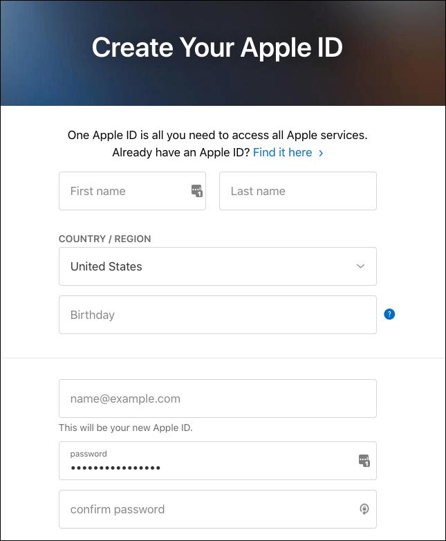 Create Apple ID on Web