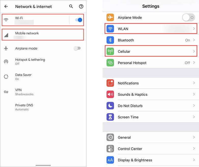 Android Settings (left) iOS Settings (right)