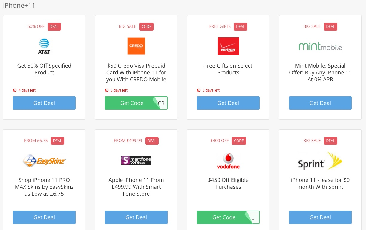 iPhone 11 coupons and deals search results
