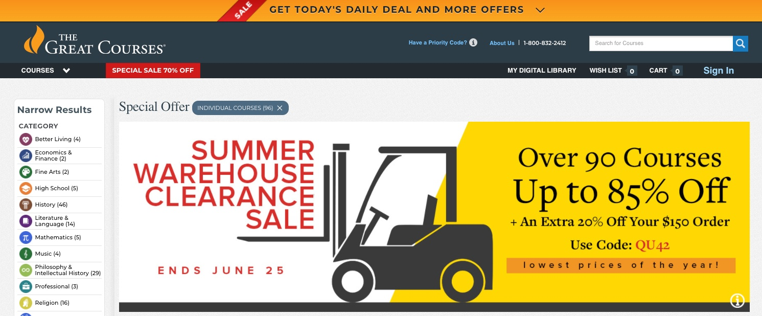 70% Off: The Great Courses coupons and deals in Jun 2021