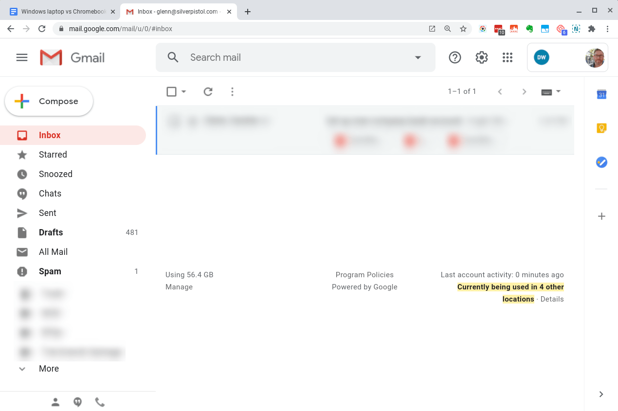 Open Gmail as a tab