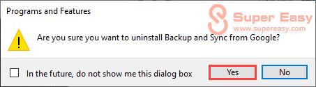 uninstall backup and sync