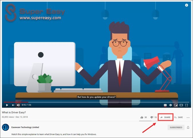 share Youtube video at specific time computer