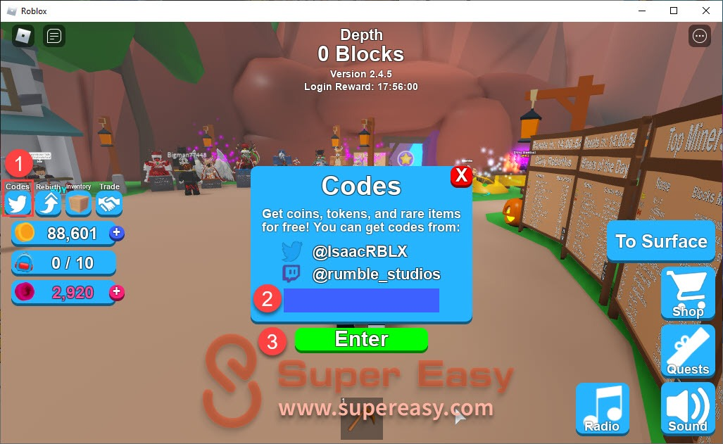 Latest Roblox Mining Simulator codes