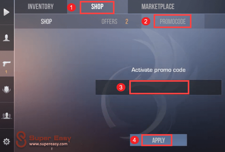 how to redeem promo code in Standoff 2