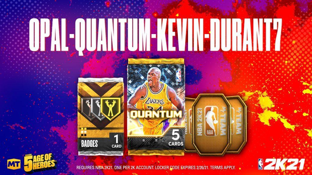 NBA 2K21 Locker Code OPAL-QUANTUM-KEVIN-DURANT7