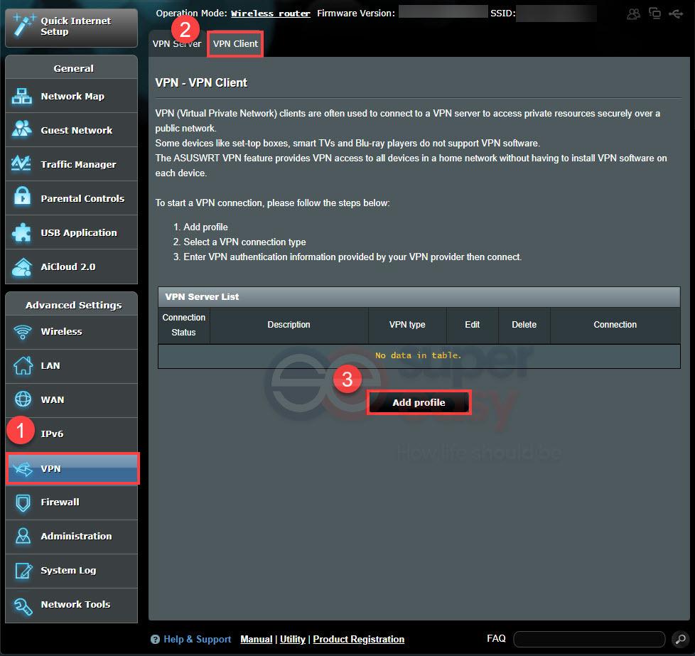 ASUS router VPN Client add profile 1