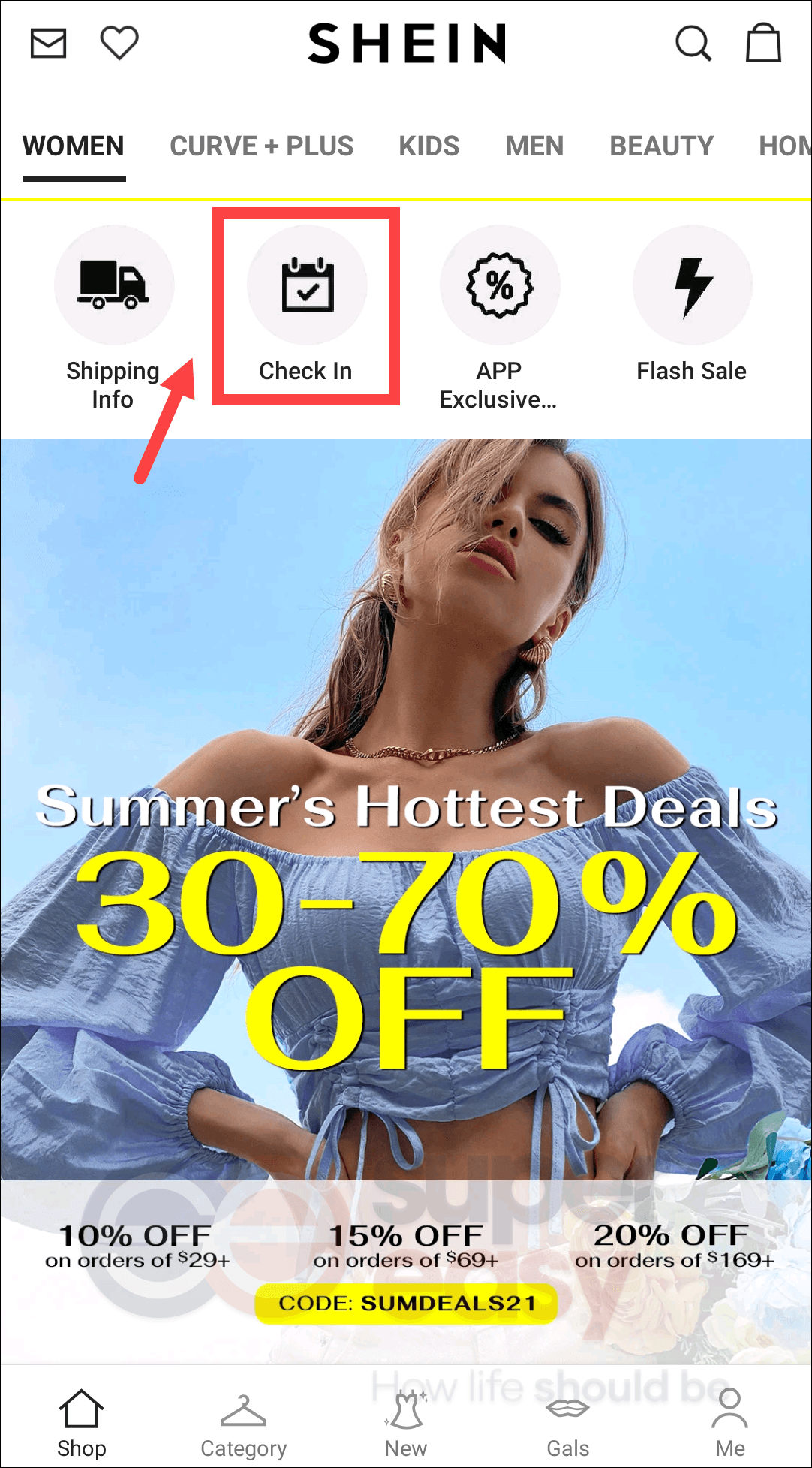 SHEIN check in earn points