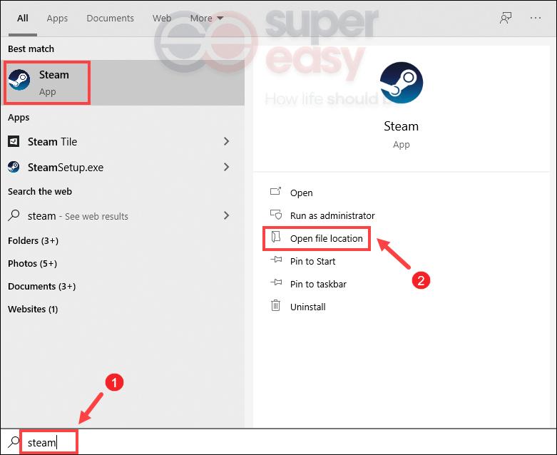 how to find Steam's installation folder