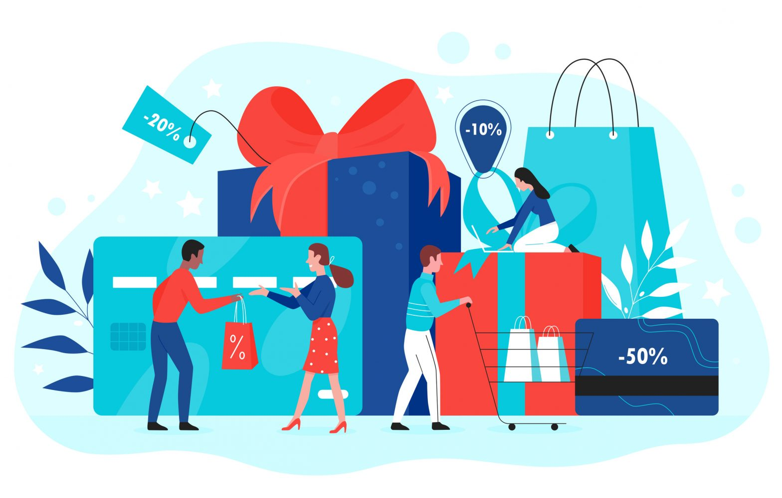 Gift card promotion concept vector illustration, cartoon flat buyer people buy gifts with red ribbon in shop, using shopping gift voucher, discount coupon