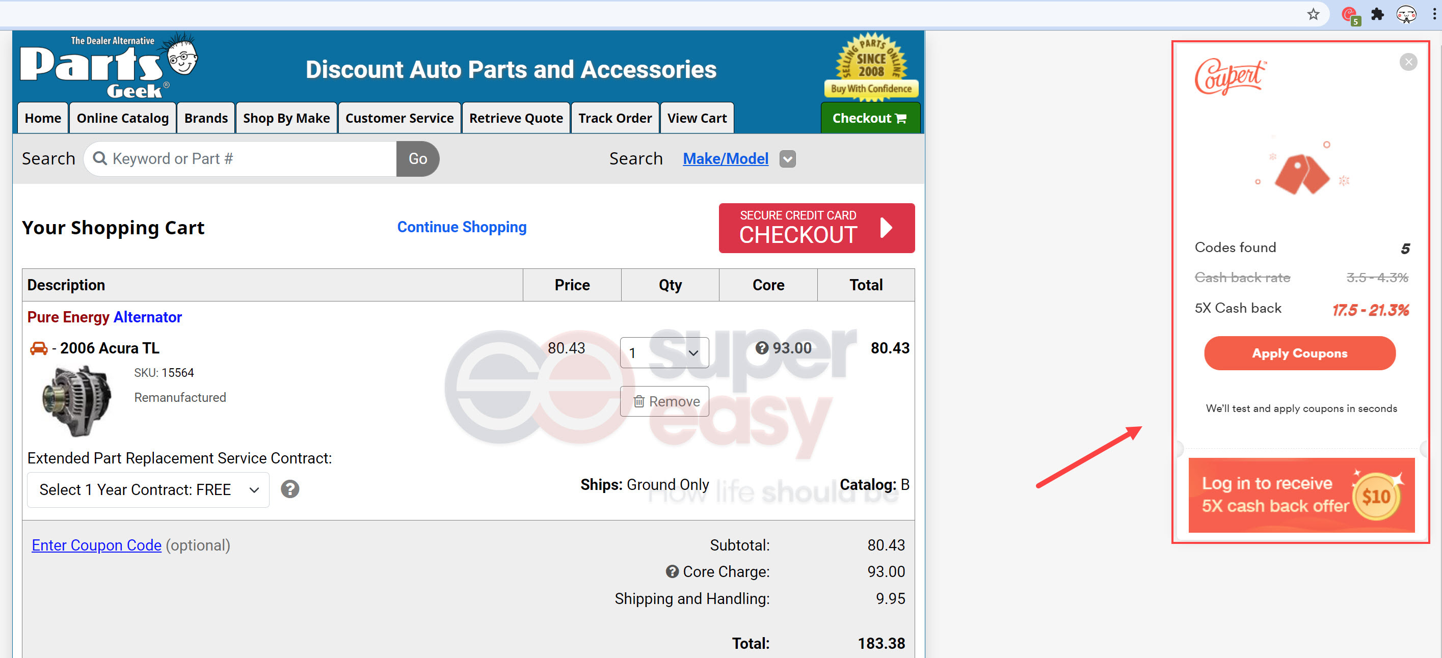 Parts Geek coupons coupert checkout