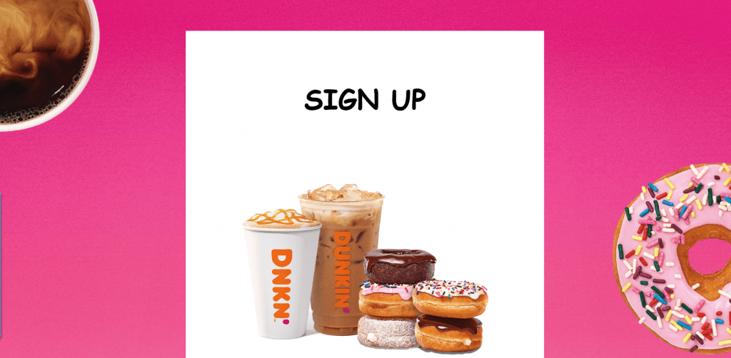 Dunkin' Donuts sign up DD Perks