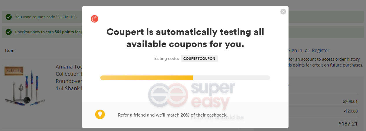 Coupert is testing coupon codes