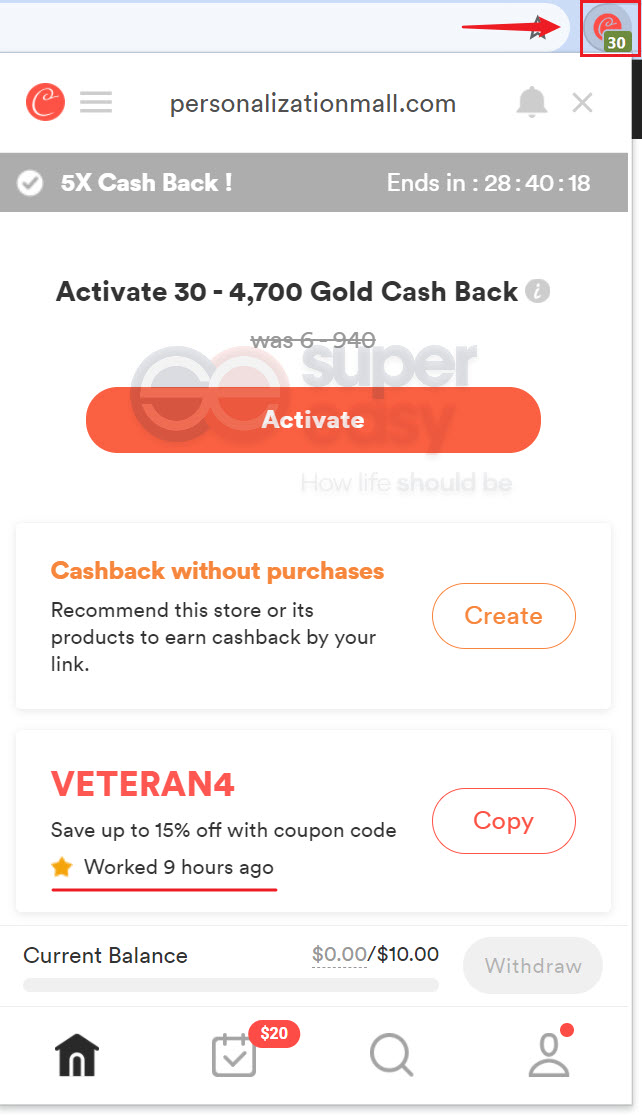 Coupons and cashback offers for Personalization Mall found by Coupert