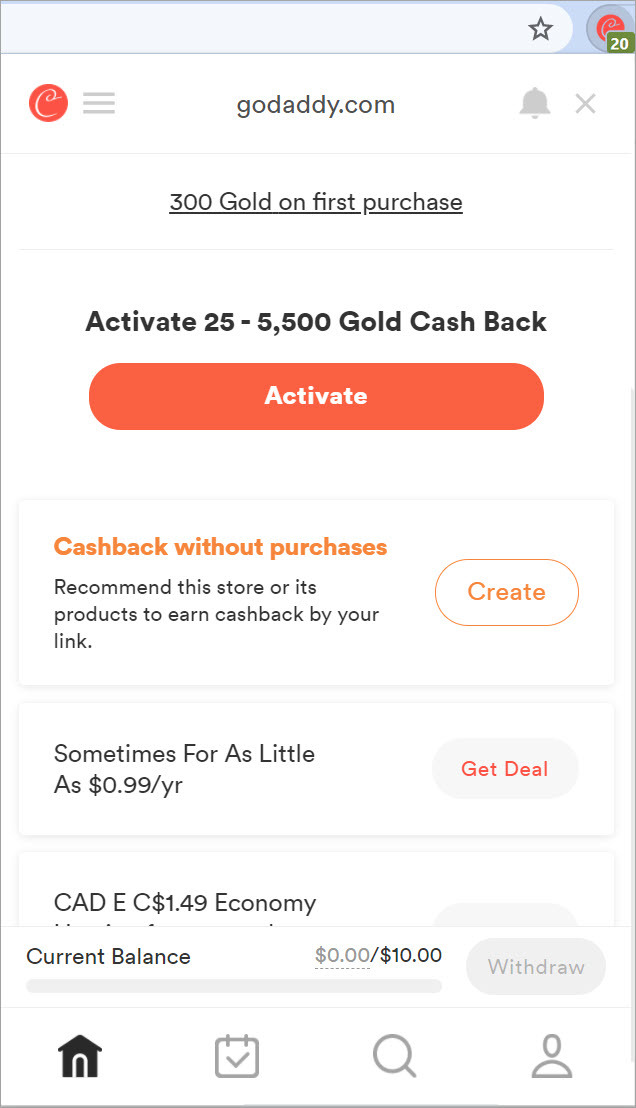 GoDaddy coupons found by coupert