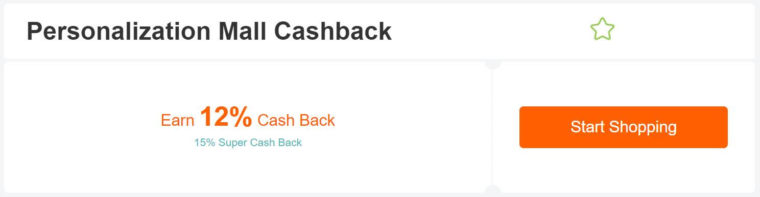 Personalization Mall cashback from extrabux